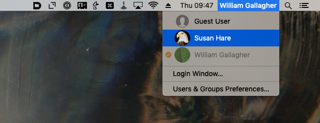 Switch to the new user through the menubar