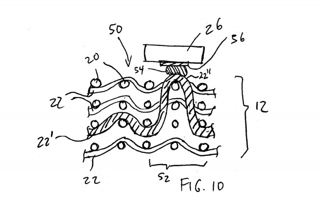 Apple's patent application image showing a conductive yarn being exposed and connected to a component
