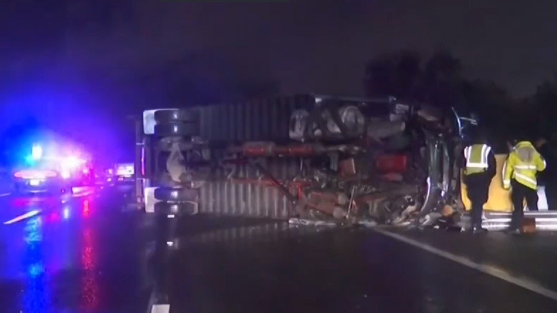 photo image Truck carrying secured Apple payload crashes in San Jose, killing one