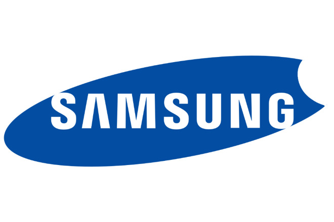 Samsung logo with an Apple-style bite taken out of it