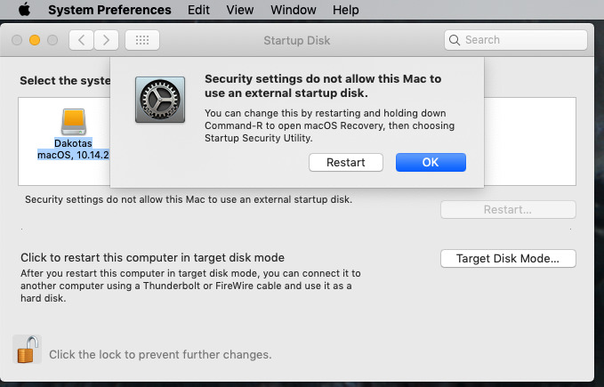 What you see if you try to boot from an external drive on a Mac with a T2 processor