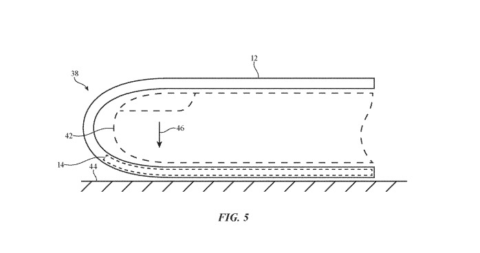 An Apple patent image demonstrating area of a glove's finger that could be made sensitive to force