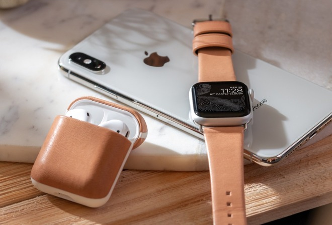 Nomad natural leather Apple Watch Modern Strap and AirPods Rugged Case