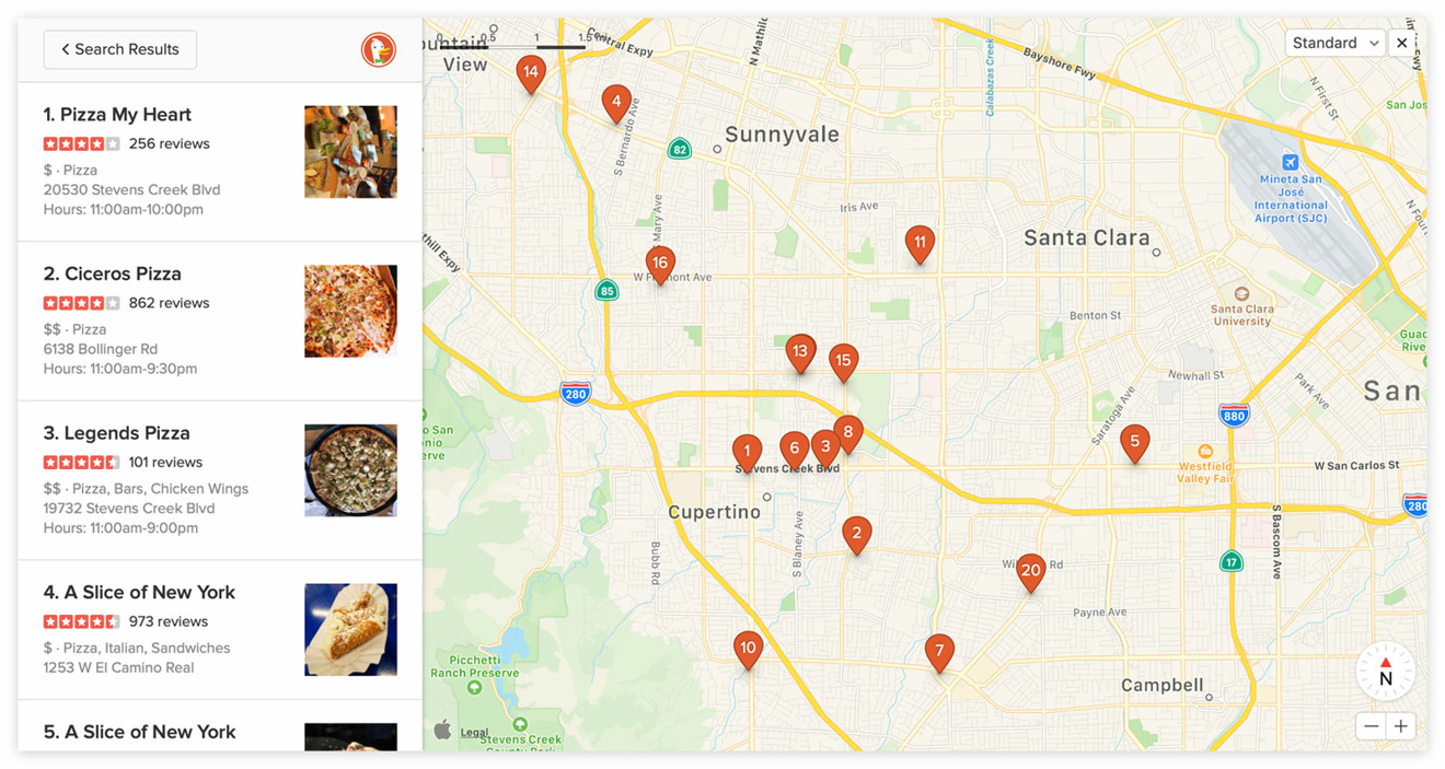 The expanded Apple Maps view in DuckDuckGo