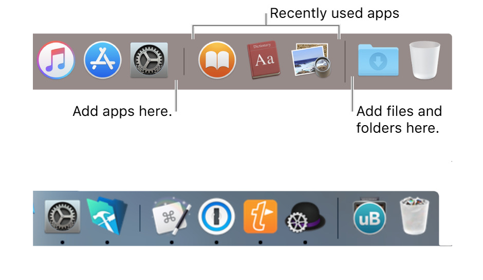 Top: Apple's documentation about three recently used apps. Bottom: our Dock apparently showing four.