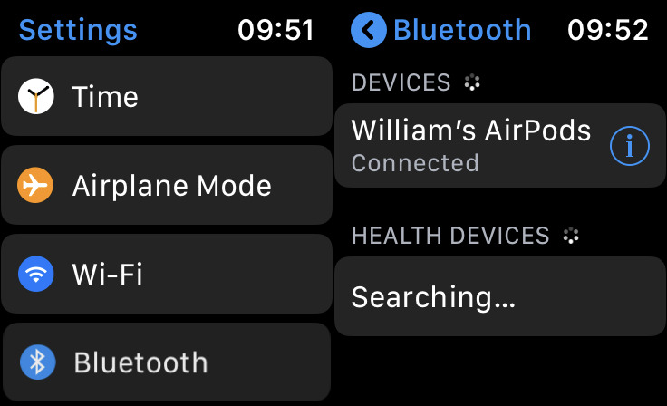Choosing Bluetooth settings on your Apple Watch