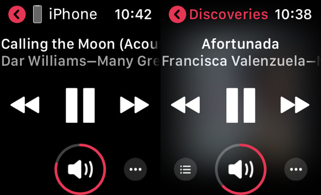 Left: listening on Watch to music from iPhone. Right: music that's stored on the Watch