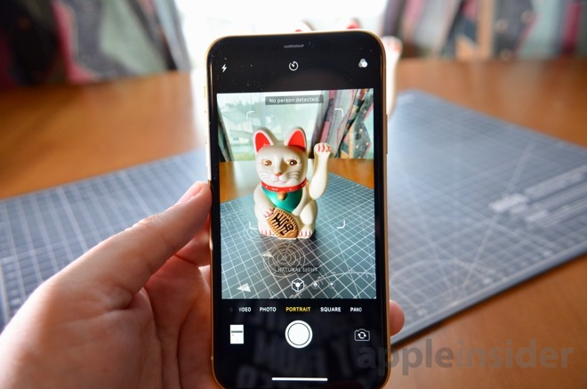 An iPhone XR notifying it could not detect a human subject in Portrait Mode