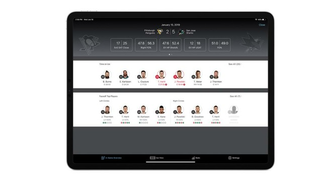 The SAP/NHL Coaching Insights app showing 'time on ice' data