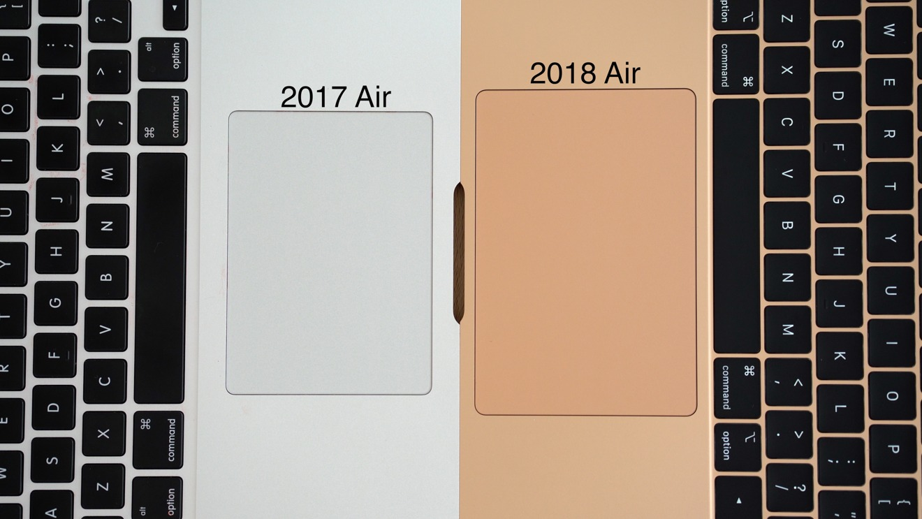 The larger trackpad of the new MacBook Air against an older model