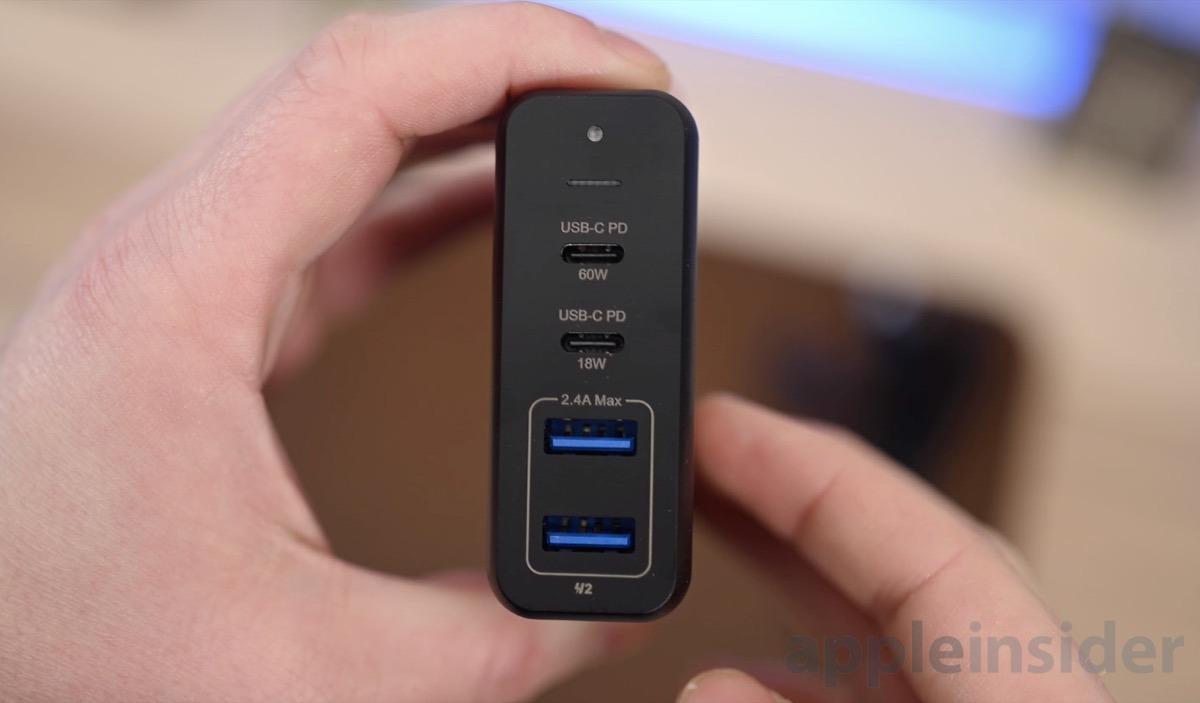 USB-C and USB-A ports