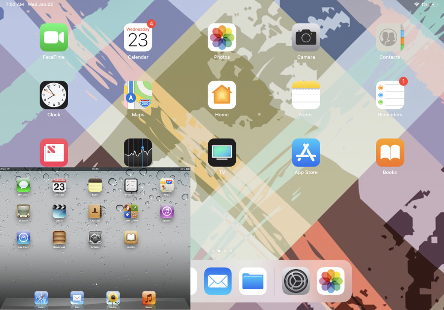 Main image: 2018 11-inch iPad Pro home screen. Inset, to scale: original iPad home screen