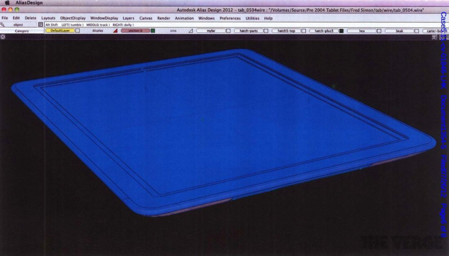 CAD drawings from 2004 of the iPad (Source: The Verge)