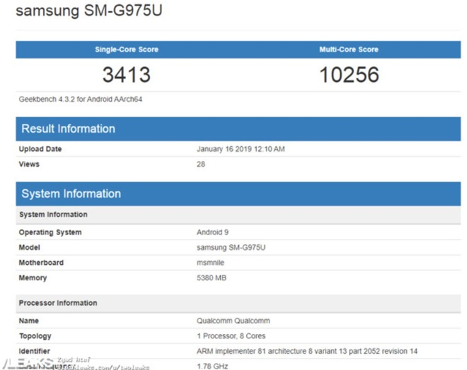 Alleged benchmarks for the Galaxy S10+ on Geekbench