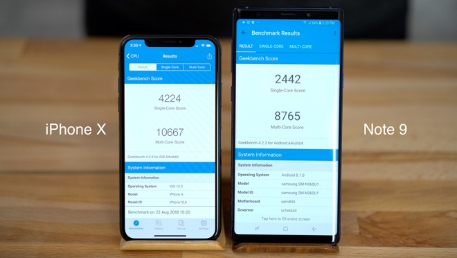 Geekbench scores for the iPhone X and the Note 9