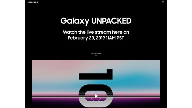 Samsung's notification of an incoming Unpacked event