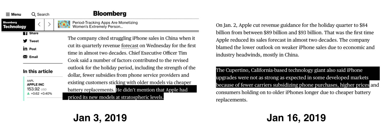 Bloomberg Apple reporting