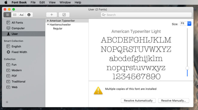 Dig through the User section in Font Book and you may see this