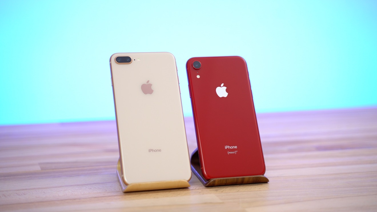 The iPhone 8 Plus (left) and the iPhone XR (right)