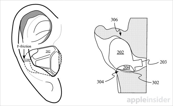 An image from an Apple patent showing how an earbud could be made to contact the ear, making it more useful for PPG measurements