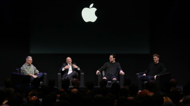 NHL commissioner Gary Bettman, Edmonton Oilers center Connor McDavid, and Toronto Maple Leafs center Auston Matthews speaking with Apple's  Phil Schiller