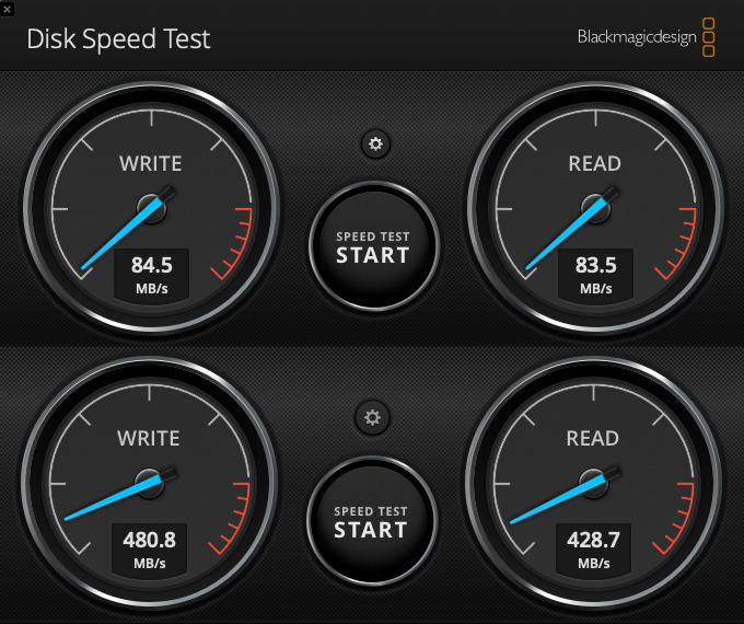 Blackmagicdesign's Disk Speed Tool on one writer's old Mac mini drive (above) then with the SSD (below)