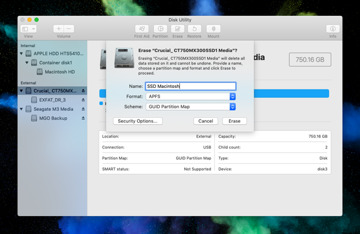 Erasing the new SSD in Disk Utility before cloning the drive