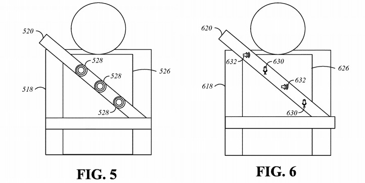 Images in Apple's patent showing haptic feedback and sensor locations in an augmented seat belt