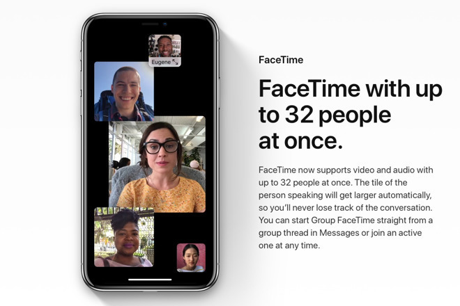 Apple's marketing image for Group FaceTime