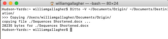 Using the Ditto command to copy files