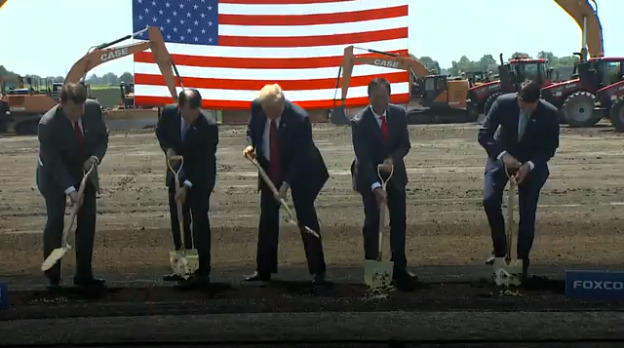 President Donald Trump, previous House Speaker Paul Ryan, and Foxconn chairman Terry Gou breaking ground in Wisconsin