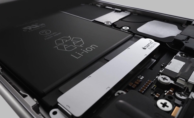 The battery and internals of an iPhone 6s