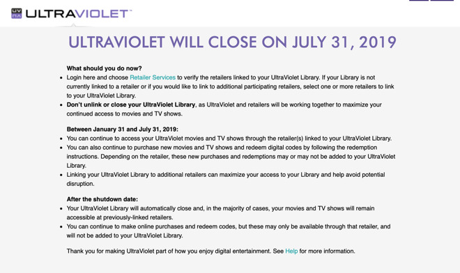 Ultraviolet video streaming service shutting down on July 31