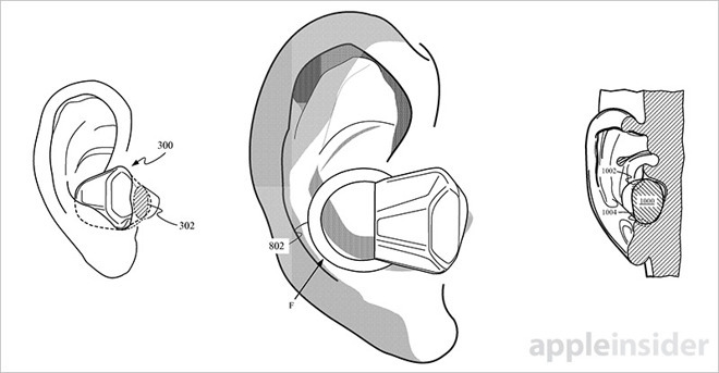 Early Apple patent for hearing-aid style AirPods (source: USPTO)