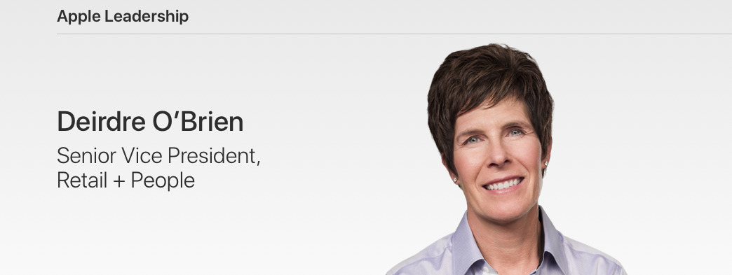 Deirdre O'Brien's profile page at Apple.com