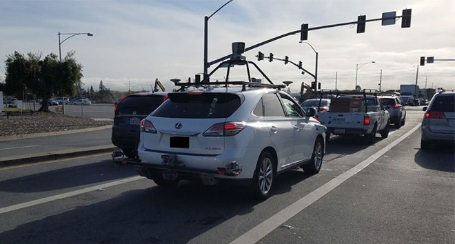 A self-driving vehicle in traffic