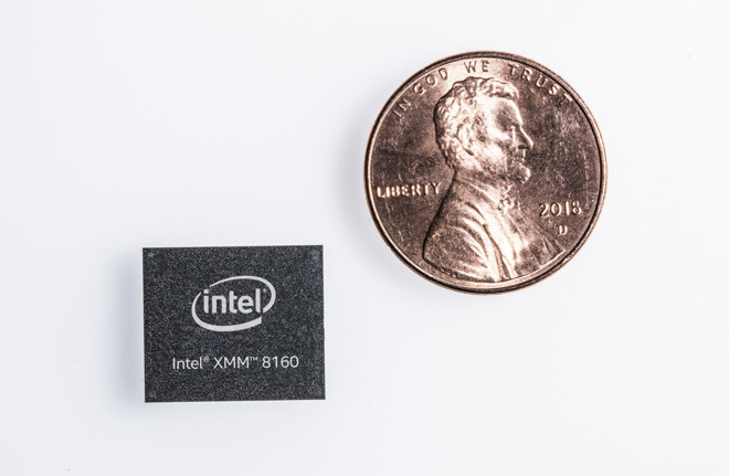 Intel's modem currently used by Apple in iPhone production, with a penny for scale