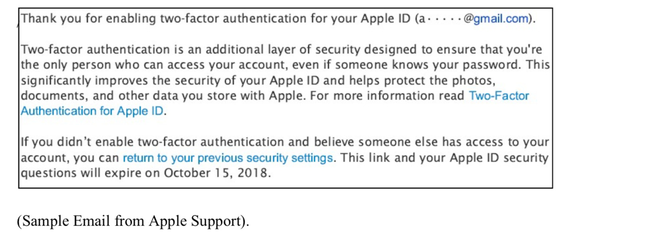 Email sent to user after two-factor authentication is activated