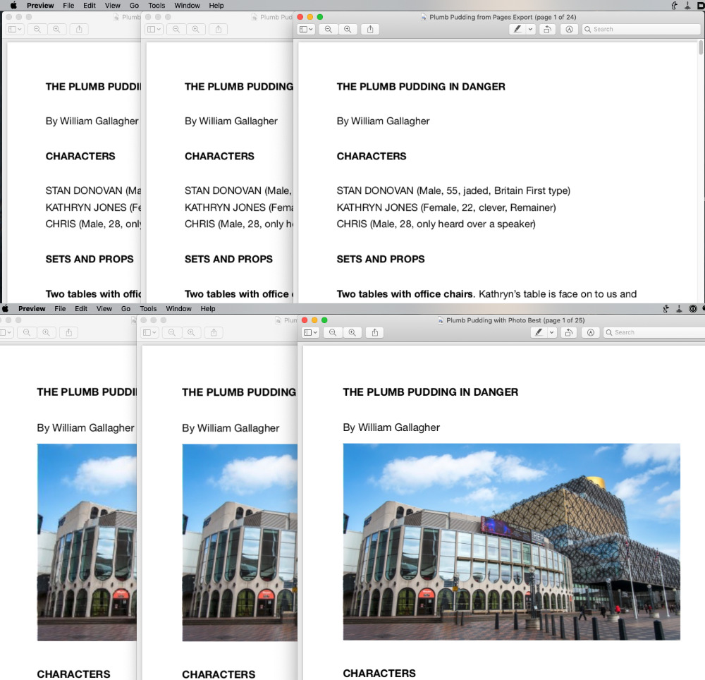 Top L-R: a Good, Better, Best text PDF. Bottom: the same with a photo