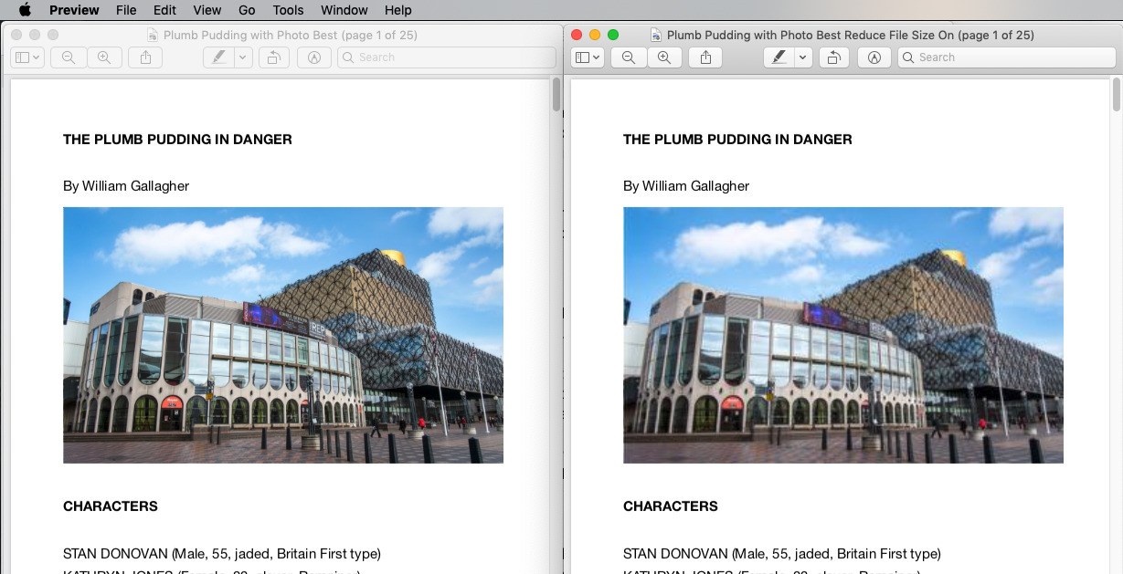 Left: the full-size PDF document. Right: the same after using Preview's Reduce File Size