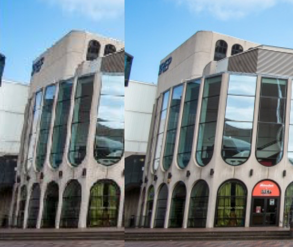 Close up on the difference between Good and Best quality. Notice how the brickwork between the windows is distorted