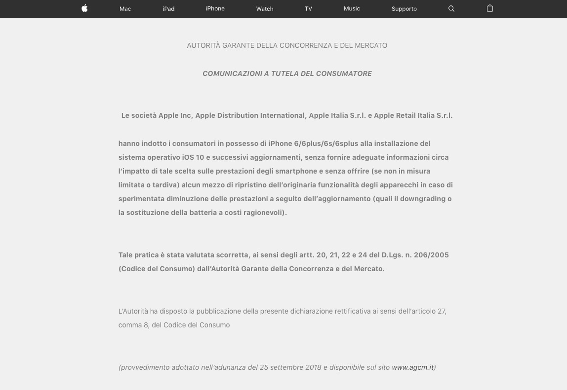 The AGCM's mandated notice on Apple Italy's homepage