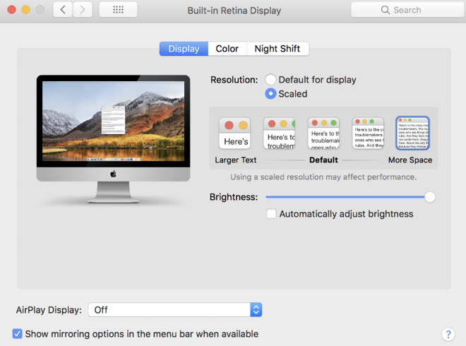 Above a certain high resolution, Apple shows a simplified system for choosing how much to scale down your display