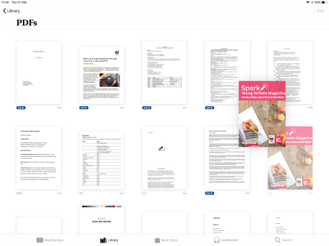 Apple's Books has little organization but does let you drag to re-order PDFs