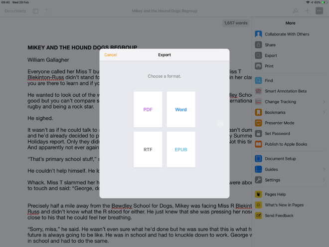 From apps such as Apple's own Pages, you can quickly export to PDF