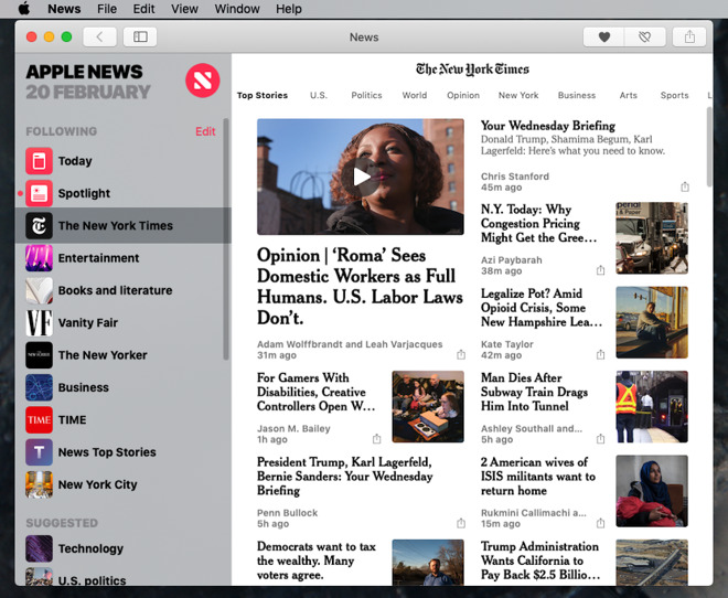 Apple's News app for iOS has already been ported to the Mac