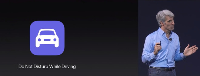 Craig Federighi introduces Do Not Disturb While Driving as part of the iOS 11 launch at WWDC 2017