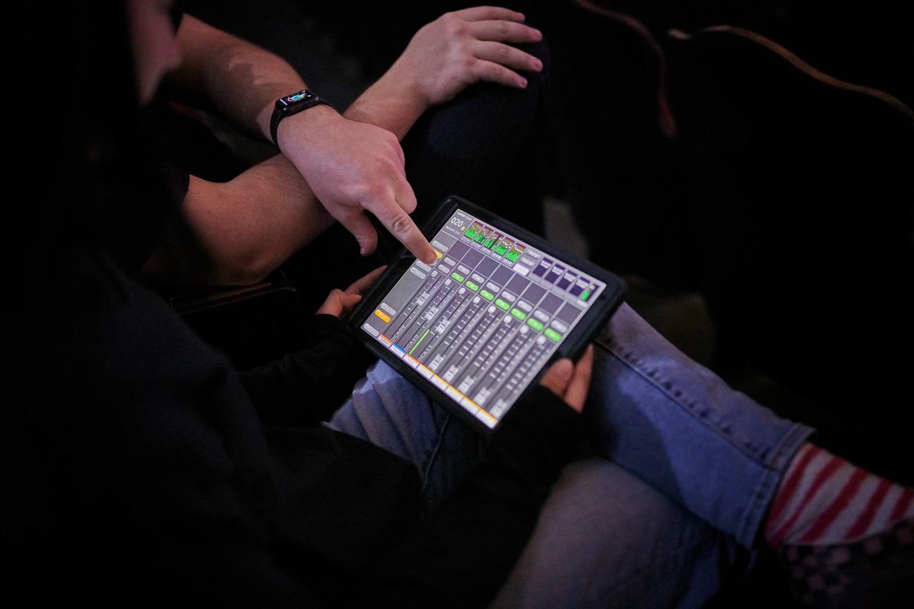iPad Pro used for audio control in the auditorium