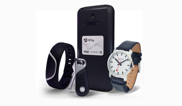 Barclays' BPay system used watches, wrist bands, keyfobs, and even stickers to perform contactless payments