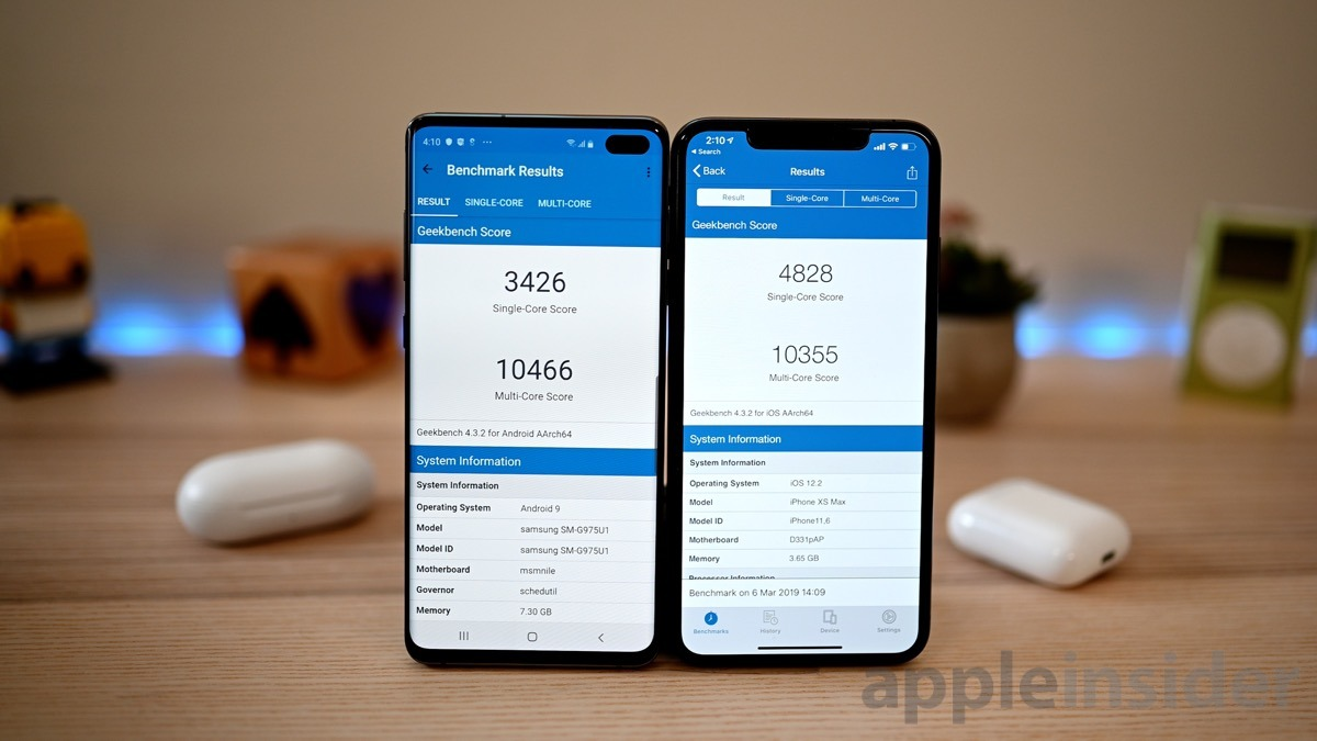 Samsung Galaxy S10+ and iPhone XS Max Geekbench 4 results